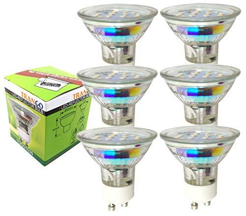 Trango 6er Pack 3.0 Watt LED Leuchtmittel GU10 Lampenfassung 3000 K warm-weiß 6TGGU1025 Glühbirnen/Glühlampen/ersetzen 35 W Halogen Lampen/Reflektorform / 230 Volt