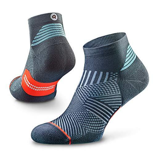 Rockay Flare Calcetines de running para hombre y mujer, cojín, corte de cuarto, soporte de arco, 100% reciclado, antiolor (1 par), XL (US Women 11-14 / US Men 9.5-12.5 ), Delfín Azul/Naranja