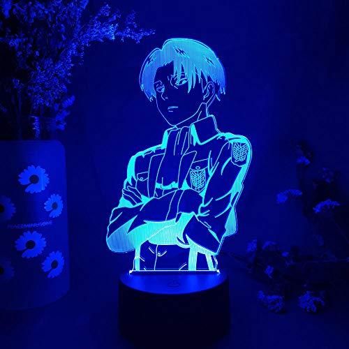 Lámpara de escritorio de mesa de ilusión óptica 3D Titan anime Levi Ackerman 7 variaciones de color Gradientes Placa de acrílico Lámpara de escritorio Decoración de dormitorio-16 color remote control