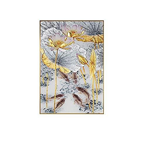 XINNeck Cuadro En Lienzo,Pintura Abstracta en Lienzo de Peces de Loto Dorado póster Moderno Arte Nuevo decoración de Estilo Chino Cuadros de Pared para el Pasillo de la Sala de Estar 50 * 75 cm