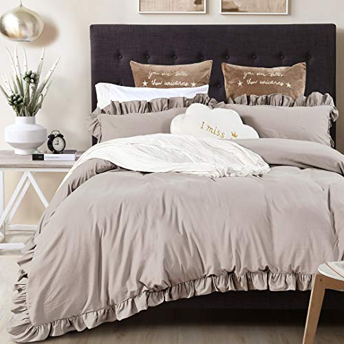 Queen's House Vintage Washed Cotton Duvet Cover Ruffle Bedding Set Taupe Queen Size-Shabby Ruffle