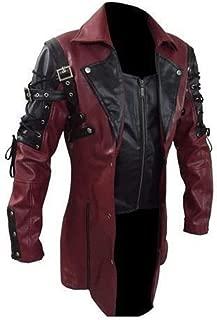 wuliLINL Men's Motorcycle Biker Slim Fit Vintage Distressed Motorcycle Punk Zipper Faux Leather Jacket Coat Top