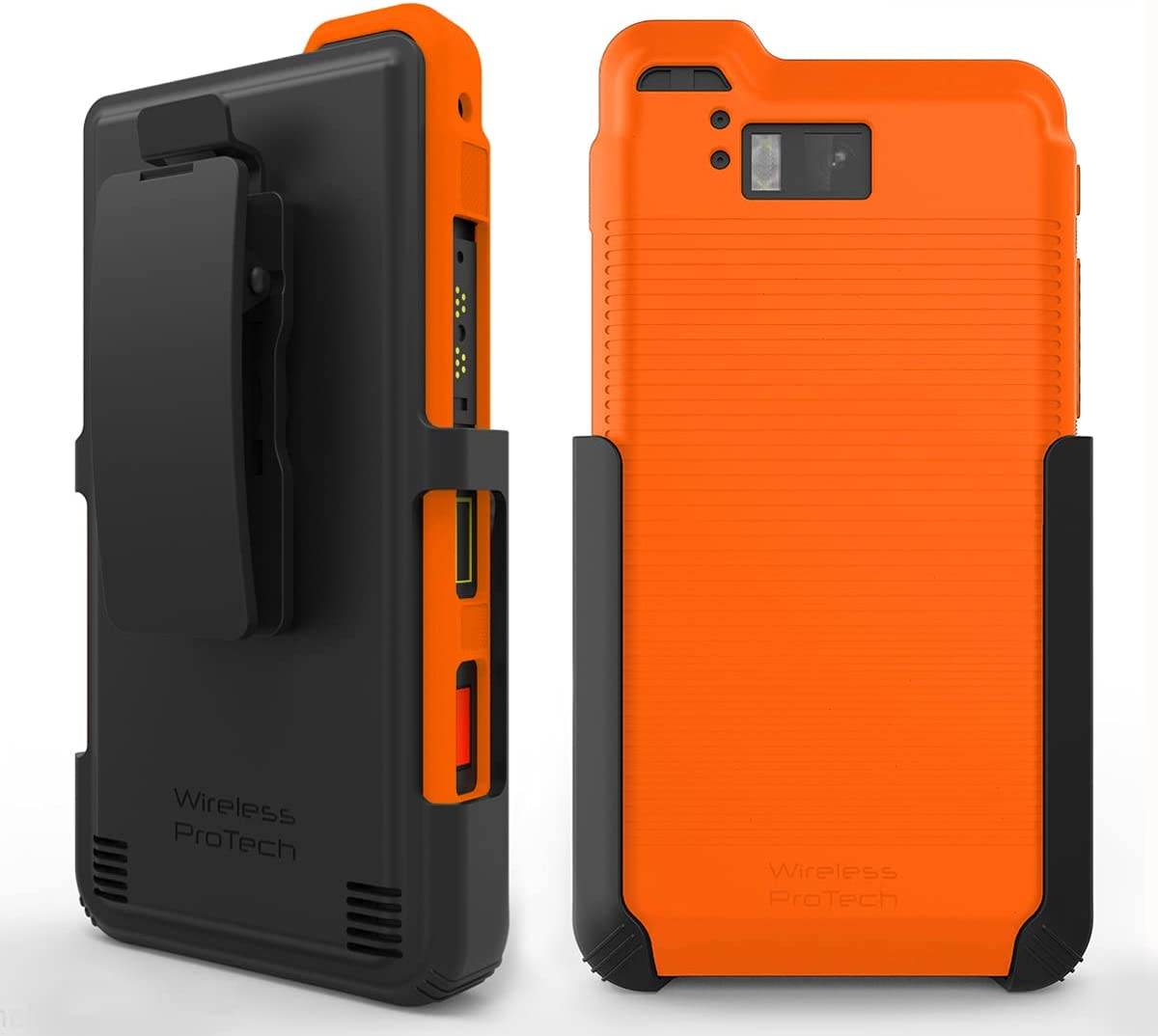 Wireless ProTech Case with Clip Compatible with Sonim XP8 Phone Model XP8800. Heavy Duty Rotating Belt Clip Holster and Durable Flexible Protective Case Combo (Orange)