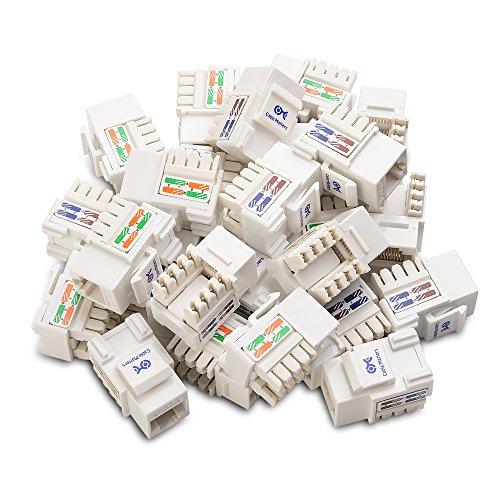 Cable Matters [UL Listed 25-Paquetes de Cat 6 RJ45 Keystone Jack (Conector RJ45 Cat6, Módulo RJ45) en Blanco y Keystone Punch-Down Stand