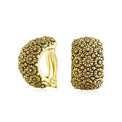 Moda Craved flor de girasol amplia mitad aro clip en pendientes para las mujeres no perforadas orejas oxidadas tono dorado chapado