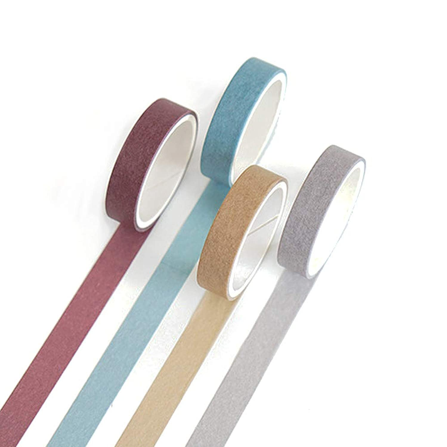 Yubbaex Set of 4 Natural Color Washi Masking Tape, Sticky Paper Tape for DIY, Decorative Craft, Gift Wrapping, Scrapbook, (7-Basic Style)