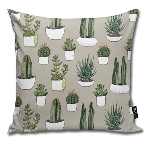 ewretery Funda de almohada decorativa para decoración del hogar, diseño de cactus y suculentas, color beige