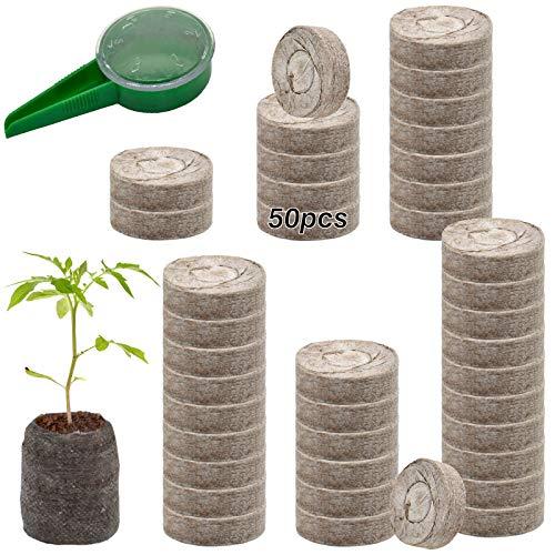 ZeeDix 50 Pcs (40mm) Peat Pellet Fiber Soil Plant Seed Starters - Plugs...