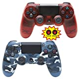 NQH Wireless-Controller für Playstation 4, Camouflage Blue and Crystal Red
