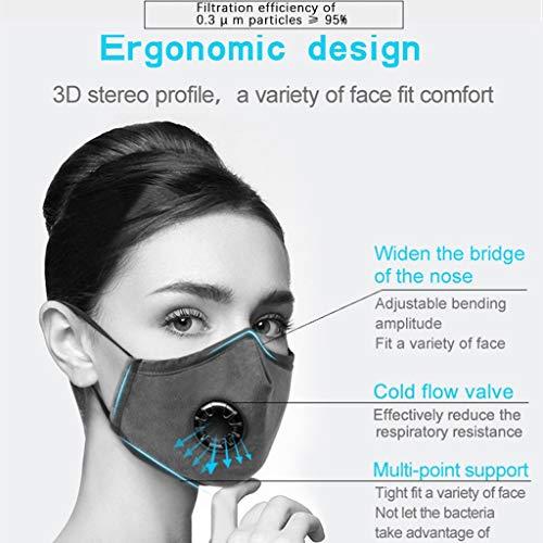 WiHoo Waschbar Mundschutz Maske FFP3 mit Filter Schwarze ...