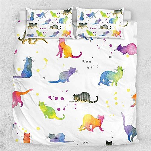 Bevvsovs® Tröster setzt Decke, 3D König Katze Cartoon Tier Bettwäsche, Ganzjahres-Steppbettdecke für Kinder, Jungen, Mädchen, Teenager, Kinder - Enthält 1 Bettdecke, 2 Kissen 220 x 230 cm -Einfacher