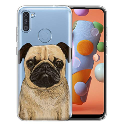 FINCIBO Case Compatible with Samsung Galaxy A11 6.4 inch 2020, Clear Transparent TPU Silicone Protector Case Cover Soft Gel Skin for Galaxy A11 - Pug Dog