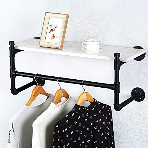 Industrial Pipe Clothing Rack Wall Mounted Real Wood ShelfPipe Shelving Floating Shelves Wall ShelfRustic Retail Garment Rack Display Rack Cloths RackSteamPunk Commercial Clothes Racks1 Tier30in