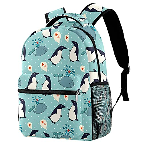 Whale Penguin Colourful School Bag Cute Kids Backpack Fashion Casual Daypack Lightweight Durable for Preschool Boys Girls Teens