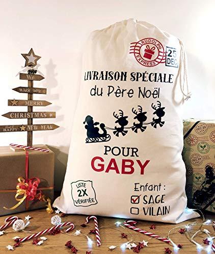 Sac du Père Noël Personnalisé au prénom de l'enfant  Enfant sage