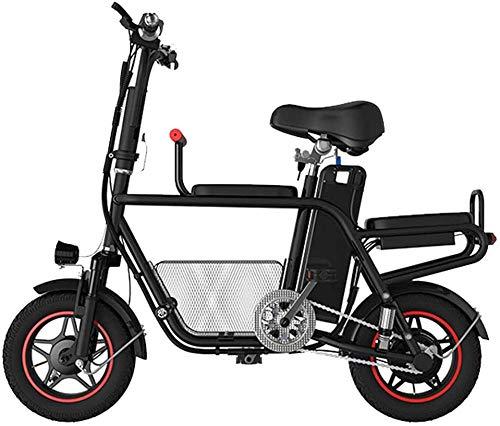 Scooter eléctrico para padres e hijos con asiento de hasta 37 Km/H y capacidad de carga de 140 kg, plegable, portátil, apto para adultos y adolescentes, viajes de compras, 45 km_negro