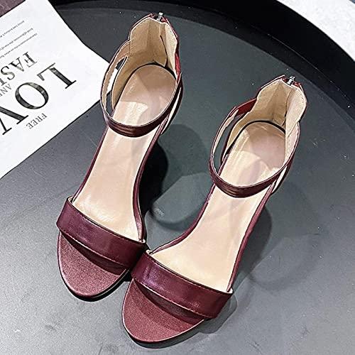 DaVanck Sandalias de tacón Alto de Moda para Mujer 2021 Verano de Boca Baja para Mujer Sandalias de Mujer de Todo fósforo Sandalias Simples y Elegantes para Mujer Vino Tinto