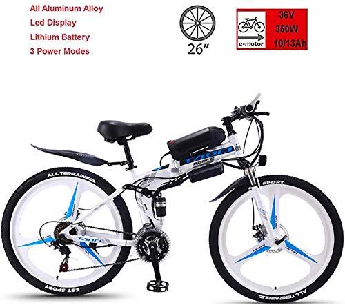 RDJM Bici electrica Bicicleta eléctrica plegable, 36V350W Super Motor Potente, 50-90Km Resistencia, Tiempo de carga 3-5 horas, de 26 pulgadas de 21 velocidad de bicicletas de montaña, apto for hombres
