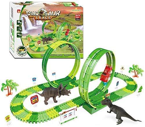 Juego de pista de dinosaurio, flexible, variable, juego de pista de carreras, tragamonedas, juguetes para coche con 2 juguetes de dinosaurio, juego de carreras ferroviarias, juguete de regalo para n