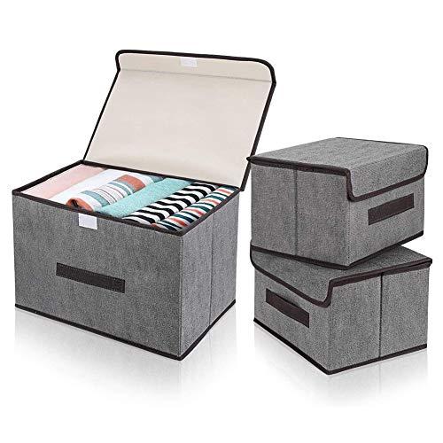MUFENA Cajas de almacenamiento con tapa, plegable, para armario, ropa, libros, cosméticos, juguetes (3 unidades, 2 pequeñas y 1 grande)