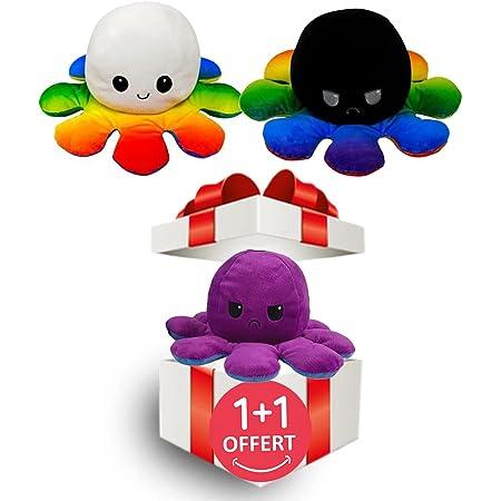 LOOLOLA 2 X Pieuvre Peluche, Poulpe, Octopus Humeur Double Face, Flip Jouet Mignonne, Cadeau Enfants, Adultes pour Noel, Anniversaire (C)