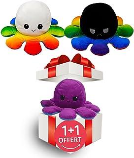 LOOLOLA 2 X Pieuvre Peluche réversible, Poulpe, Octopus Humeur Double Face, Flip Jouet Mignonne, Cadeau Enfants, Adultes p...