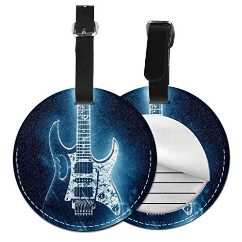 Kofferanhänger PU Leder Neon E Gitarre für Gitarristen, Gepäckanhänger ID Etikett Mit Adressschild Namenschild für Reisetasche Koffer