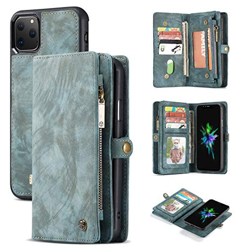 AKHVRS Galaxy S10 Plus Wallet Case,Handmade Premium Cowhide Leather Wallet Case,Zipper Wallet Case [Magnetic Closure] Detachable Magnetic Case & Card Slots for Samsung Galaxy S10 Plus - Blue