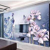 カスタムウォールクロス3Dステレオレリーフブルーピーコックフラワーズ壁画壁紙リビングルームテレビソファテーマホテル背景壁紙-350X250CM