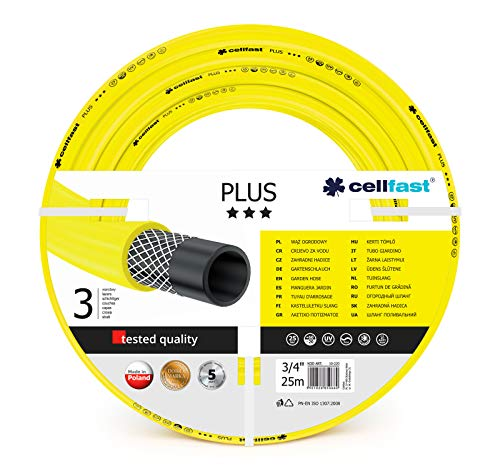 Cellfast Gartenschlauch PLUS 3-lagiger Wasserchlauch mit dauerhafter Verstärkung aus Garn höchster Qualität, beständig gg. UV-Strahlen und Algenablagerungen, 25 bar Berstdruck, 25m, 3/4 Zoll, 10-220