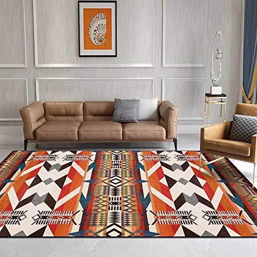 Moderno Alfombra De Salón Antideslizante Alfombra Estilo étnico geométrico Naranja-Amarillo-Azul para El...