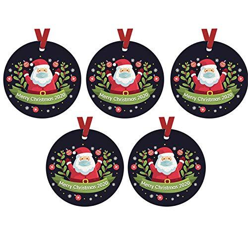 Selinora 5PC 2020 Christmas Ornament Santa Wearing A Face_Mask Decoration Christmas Tree Hanging Decorations Xmas Gifts