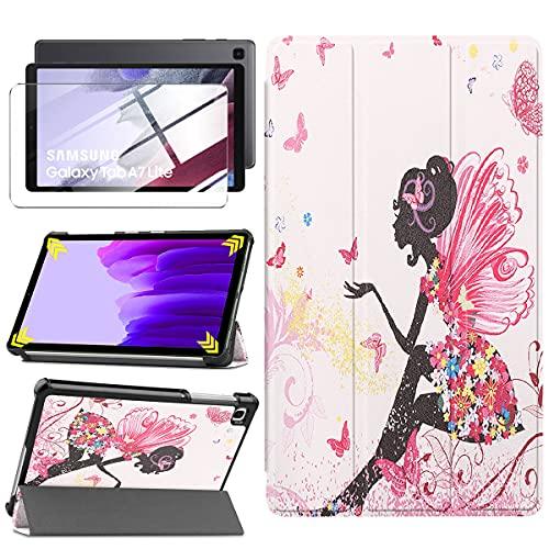 LYZXMY Funda + Protector Pantalla para Samsung Galaxy Tab A7 Lite 8.7' 2021 SM-T225 / SM-T220 - Vidrio Templado, Carcasa Soporte Función PU Flip Caso - Girl