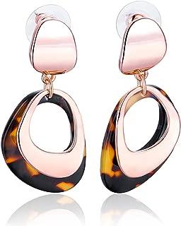 Rose Gold Brown Resin Mottled Acrylic Two Layered Dangle Earrings for Women