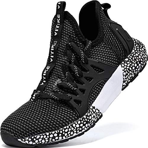 VITIKE Kinder Sneaker Jungen Turnschuhe Mädchen Hallenschuhe Kinder Sportschuhe Outdoor Schuhe Jungen Sneaker Laufschuhe,821 Schwarz,36 EU