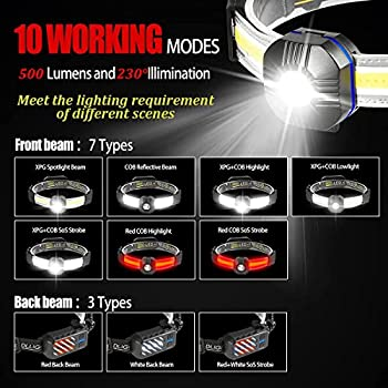 Vokida Torche Frontale puissante COB XPG 10 Modes USB Rechargeable LED Lampe Frontal 500 lumens IPX4 Étanche, Camping, Lecture, Randonnée, Cyclisme, Pêche, Velo