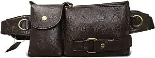 Oivias Waist Pack-Outdoor Casual Waist Pockets, Men's Multi-Function Leather Purse Crossbody Bag, Shoulder Bag, Suitable for Travel, Fitness(Size:24 * 3 * 13cm) (Color : Brown)