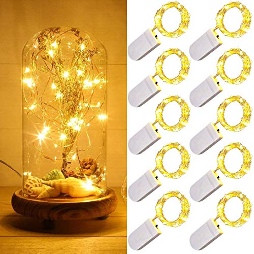 10 Pack LED Fairy String Lights Battery Operated 1m 10 LEDs Sliver Wire White Waterproof Star Bottle String Lights for Christmas Wedding Party Bedroom Indoor Outdoor Decoration… (Warm White)