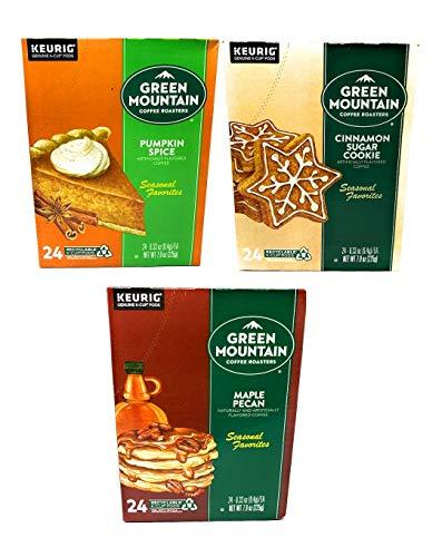 Green Mountain K Cups Seasonal Variety Pack of 3 Flavors - Cinnamon Sugar Cookie, Pumpkin Spice, and Maple Pecan - Pack of 72 K Cups - 24 K Cups Per Flavor - For Use of Keurig Coffee Makers