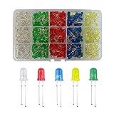 YIXISI 400 Piezas 5mm LED Diodo Emisor, Ultrabrillante Diodos Multicolor Emisores, LED Diodos Kit, Blanco/Rojo/Amarillo/Verde/Azul, 80 Piezas para Cada Color