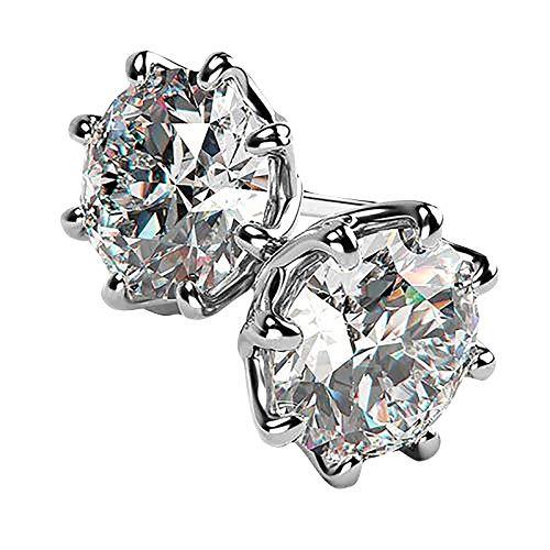 Fasclot Copper Earrings Snowflake Earrings Round Zirconium Inlaid Earrings Jewelry