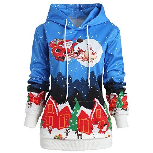 SamMoSon Blouson Femme Hiver,T-Shirts à Manches Longues Femme Taille Femmes Noël Père Noël Claus Wapiti Impression Arrêtez-Vous Encapuchonné Sweat-Shirt Bleu XL