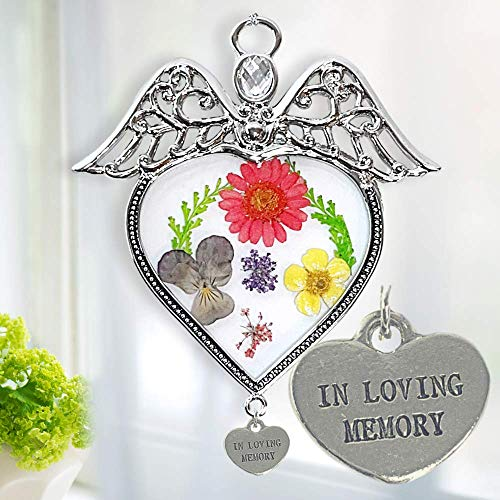 BANBERRY DESIGNS Memorial Angel Suncatcher  Pressed Flowers Sun Catcher with an in Loving Memory Heart Charm  Glass Window Remembrance