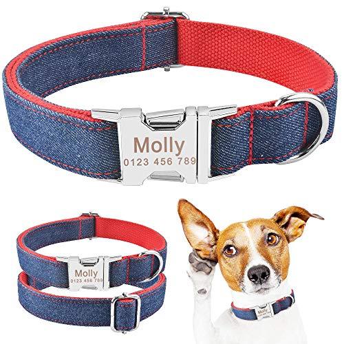 Collar para Perros Unisex Personalizado, para Cachorros, medianos y Grandes, para Perros, Collares de Nailon Ajustables, Etiqueta de identificación con Nombre Grabado Personalizado, Collar para