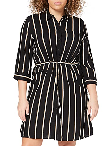 ONLY Damen Kleid Tamari 3/4 Sleeve Shirt Dress 15185738 Black White/Camel Stripe 34