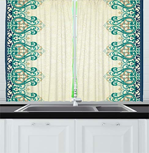 Ambesonne Damask Kitchen Curtains, Ornamental Lace Like Border Victorian Style Pattern Design Illustration, Window Drapes 2 Panel Set for Kitchen Cafe Decor, 55' X 39', Yellow Jade