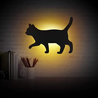 OSALADI Cat Night Light Voice Activated Black Cat Silhouette Lamp Wall Decor for Home Living Room Hallway Kitchen Bedroom,...