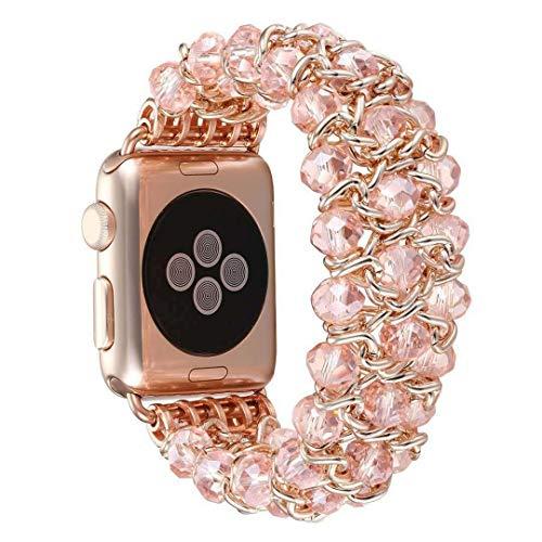 LIUZH Correa de metal compatible con Apple Watch de 38 mm y 40 mm de acero inoxidable para mujeres y niñas, para Apple Watch Series 6, 5, 4, 3, 2, 1 SE (color: rosa, tamaño: 38/40 mm)