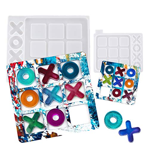 2PCS Tic Tac Toe Board Game Resin Molds Fun Family Board Game Silicone Resin Mould Kit DIY Epoxy...