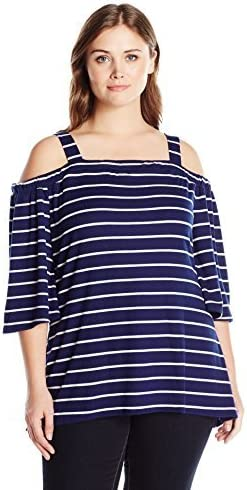 Max 65% OFF Notations Women's New color Plus Size Stripe 3 The 4 Sleeve Off T Shoulder